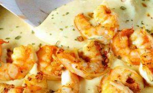 como hacer camarones en queso crema